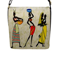 Woman Ethic African People Collage Flap Messenger Bag (l)