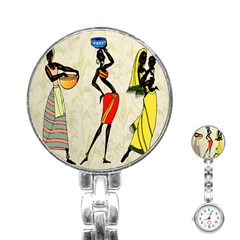 Woman Ethic African People Collage Stainless Steel Nurses Watch