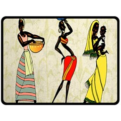 Woman Ethic African People Collage Double Sided Fleece Blanket (large)