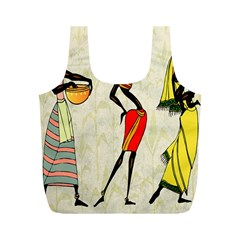 Woman Ethic African People Collage Full Print Recycle Bags (m)