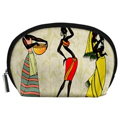 Woman Ethic African People Collage Accessory Pouches (large)