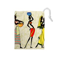 Woman Ethic African People Collage Drawstring Pouches (medium)