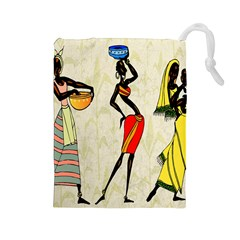 Woman Ethic African People Collage Drawstring Pouches (large)