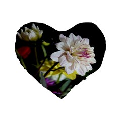 Dahlias Dahlia Dahlia Garden Standard 16  Premium Flano Heart Shape Cushions