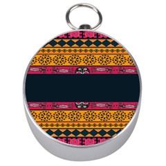 Pattern Ornaments Africa Safari Silver Compasses