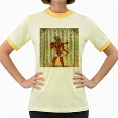 Egyptian Design Man Royal Women s Fitted Ringer T Shirts