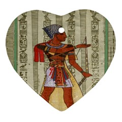 Egyptian Design Man Royal Heart Ornament (two Sides)