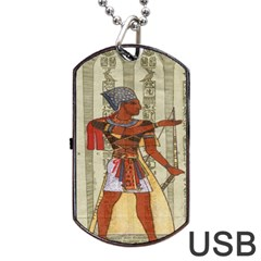 Egyptian Design Man Royal Dog Tag Usb Flash (one Side)