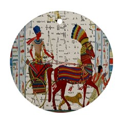 Egyptian Tutunkhamun Pharaoh Design Round Ornament (two Sides)