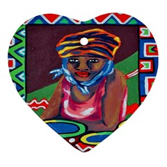 Ethnic Africa Art Work Drawing Ornament (heart)