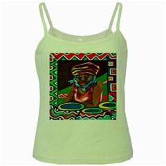 Ethnic Africa Art Work Drawing Green Spaghetti Tank