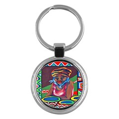 Ethnic Africa Art Work Drawing Key Chains (round)