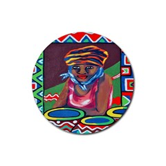 Ethnic Africa Art Work Drawing Rubber Coaster (round)