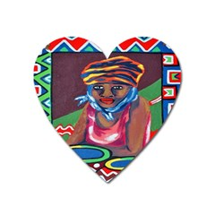 Ethnic Africa Art Work Drawing Heart Magnet