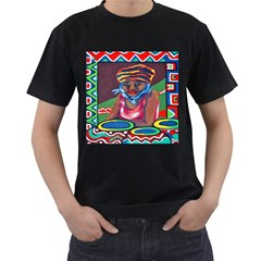 Ethnic Africa Art Work Drawing Men s T Shirt (black) (two Sided)