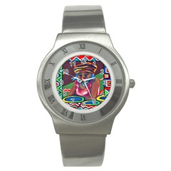 Ethnic Africa Art Work Drawing Stainless Steel Watch