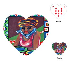Ethnic Africa Art Work Drawing Playing Cards (heart)