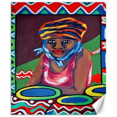 Ethnic Africa Art Work Drawing Canvas 8  X 10
