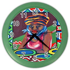 Ethnic Africa Art Work Drawing Color Wall Clocks