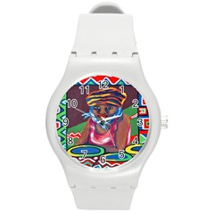 Ethnic Africa Art Work Drawing Round Plastic Sport Watch (m)