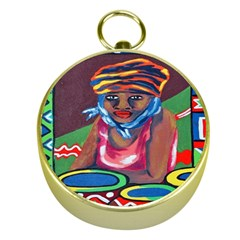 Ethnic Africa Art Work Drawing Gold Compasses