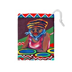 Ethnic Africa Art Work Drawing Drawstring Pouches (medium)