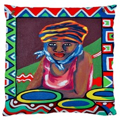 Ethnic Africa Art Work Drawing Large Flano Cushion Case (two Sides)
