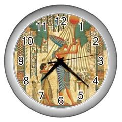 Egyptian Man Sun God Ra Amun Wall Clocks (silver)