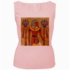 Egyptian Tutunkhamun Pharaoh Design Women s Pink Tank Top