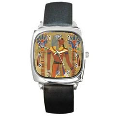 Egyptian Tutunkhamun Pharaoh Design Square Metal Watch