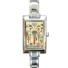 Egyptian Paper Papyrus Hieroglyphs Rectangle Italian Charm Watch