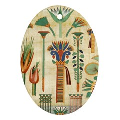 Egyptian Paper Papyrus Hieroglyphs Ornament (oval)