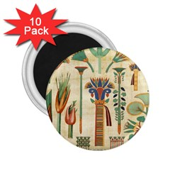 Egyptian Paper Papyrus Hieroglyphs 2 25  Magnets (10 Pack)