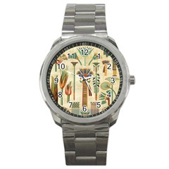 Egyptian Paper Papyrus Hieroglyphs Sport Metal Watch