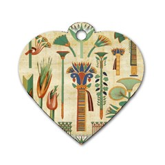 Egyptian Paper Papyrus Hieroglyphs Dog Tag Heart (two Sides)