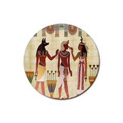 Egyptian Design Man Woman Priest Rubber Round Coaster (4 Pack)