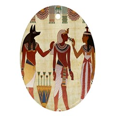 Egyptian Design Man Woman Priest Oval Ornament (two Sides)