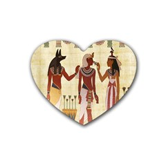 Egyptian Design Man Woman Priest Rubber Coaster (heart)