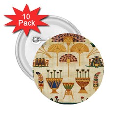 Egyptian Paper Papyrus Hieroglyphs 2 25  Buttons (10 Pack)