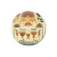 Egyptian Paper Papyrus Hieroglyphs Magnet 3  (round)