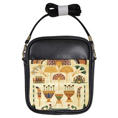 Egyptian Paper Papyrus Hieroglyphs Girls Sling Bags