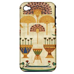 Egyptian Paper Papyrus Hieroglyphs Apple Iphone 4/4s Hardshell Case (pc+silicone)