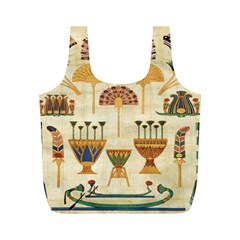 Egyptian Paper Papyrus Hieroglyphs Full Print Recycle Bags (m)