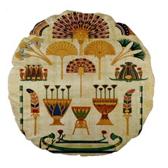 Egyptian Paper Papyrus Hieroglyphs Large 18  Premium Flano Round Cushions