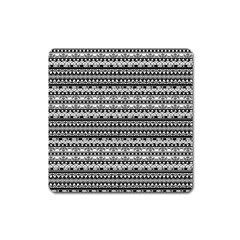 Zentangle Lines Pattern Square Magnet