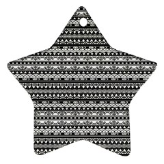Zentangle Lines Pattern Star Ornament (two Sides)