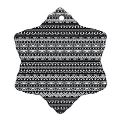 Zentangle Lines Pattern Snowflake Ornament (two Sides)