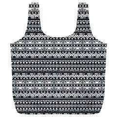 Zentangle Lines Pattern Full Print Recycle Bags (l)