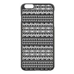Zentangle Lines Pattern Apple Iphone 6 Plus/6s Plus Black Enamel Case
