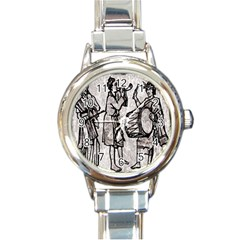 Man Ethic African People Collage Round Italian Charm Watch